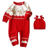 Autumn Winter Newborn Baby Boys Girl Romper Christmas Clothes Knitted Sweaters Reindeer Outfit Sets 2pcs Set