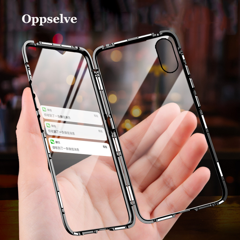 Double Sided Glass Magnetic Case For iPhone XS Max XR X 7 8 Plus Luxury Metal 360 Degree Full Protection Cover For iPhone X S R iphone xr case magnetic