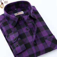 AOLIWEN AOLIWEN2018 blouse men Purple Plaid Printing Loose For Male Long Shirt