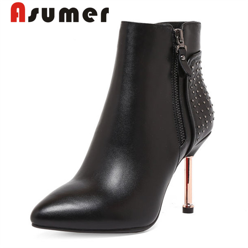 ASUMER NEW 2018 fashion bling genuine leather boots solild high quality ankle boots for women sexy classic zip high heels bootsASUMER NEW 2018 fashion bling genuine leather boots solild high quality ankle boots for women sexy classic zip high heels boots