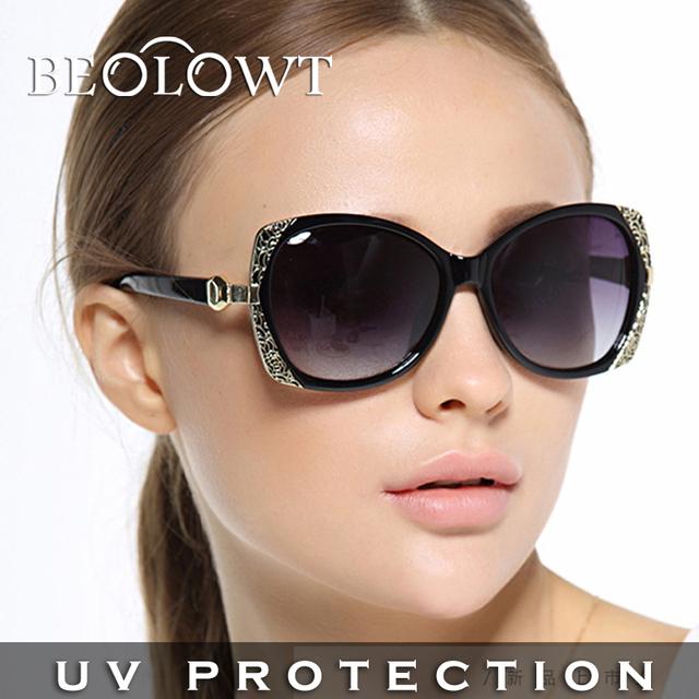 BEOLOWT Marca mujeres de la Manera UV400 Gafas de Sol de Conducción Caja de Aleación De Aluminio Y Magnesio Gafas de Sol para las mujeres con la Caja BL408