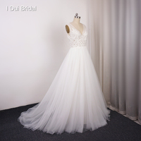 V Neck Factory Wedding Dresses Beaded Lace Bridal Gown Custom Made Real Photo Beach Reception Wedding Gown