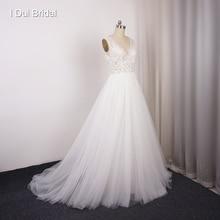 Vestidos de novia de fábrica con cuello en V, encaje de novia, foto Real personalizada, recepción de playa, vestido de boda