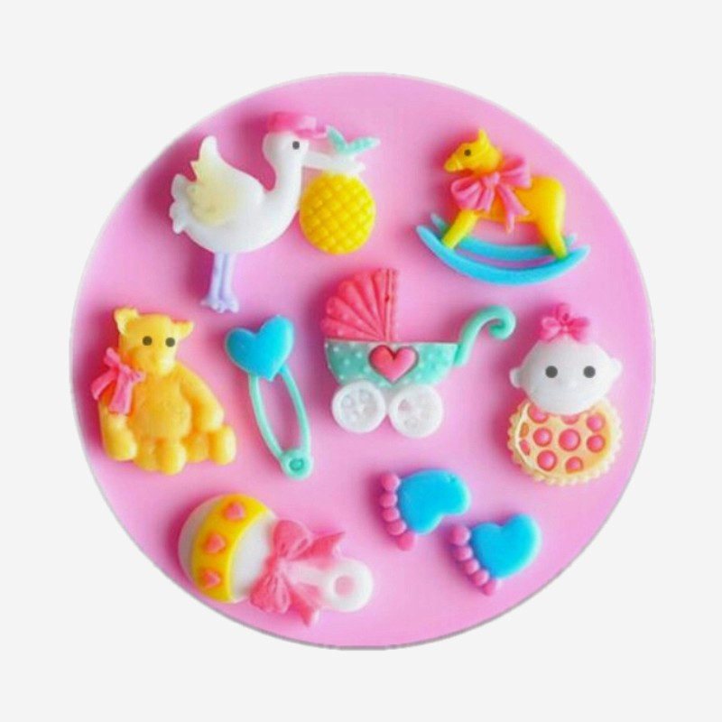 DIY Multiple goose foot Little Swan baby car molding Silicone baking silica gel clay Bakeware Microwave Cake Decorating Tools