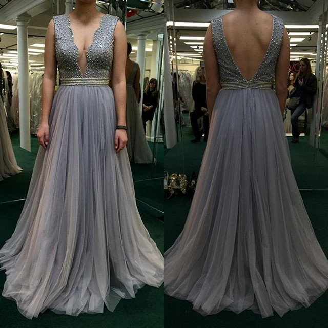 2017 Luxury Beaded Crystal Grey Prom Dresses for Black Girls Sexy Low Cut  Back African Evening Party Gowns Vestidos De Festa 342d97f5a