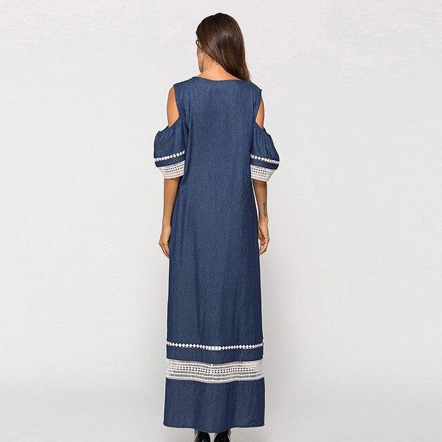 Women Fashion High Waist Plus Szie Muslim Splice Long Sleeve Dress Islam Jilbab Elegant Design Maxi Dresses Clothes z0415 5