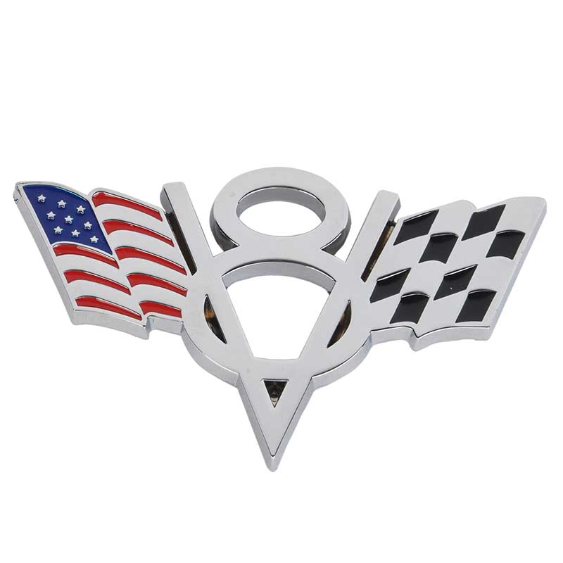 1pc High Quality Metal V8 American Flag Car Emblem Universal Auto Car 3D Metal Badge Sticker Decal for Ford Chevrolet 3d metal auto car performance badge decal fender emblem for trd sports racing