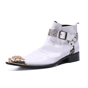 men winter boots new vintage leather pointed-toed boots Gold metal toe White buckle ankle boots man boot low heel  men's shoes