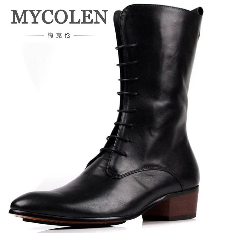 MYCOLEN 2018 Men Martin Boots Genuine Leather Men Shoes Mid-Calf Motorcycle Boots Male Low Heels Men Footwear Bottine double buckle cross straps mid calf boots