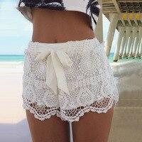 Lato kobieta krótkie spodnie Słodki Styl Niebieski Białe Koronkowe szorty z kokardą Szydełka Szczupła Plaża Hot Spodenki Hurtownie