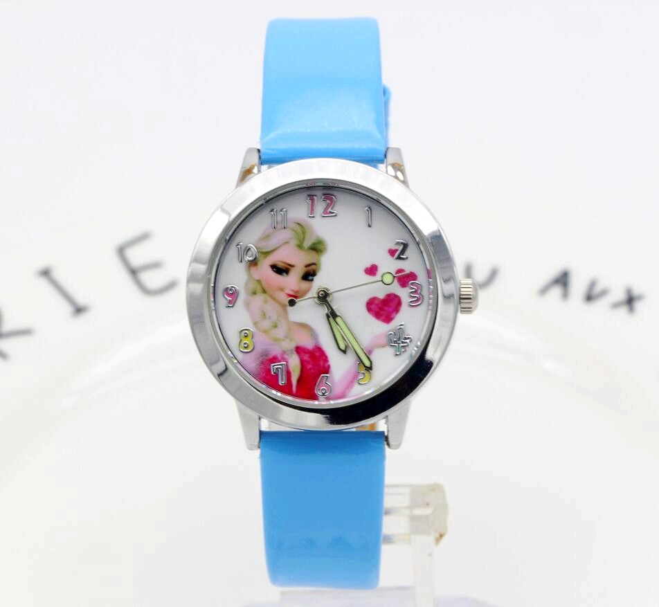 Original Disney Frozen Elsa Anna Sofia Princess Girl Leather Cartoon Children Watch Kids Lovely Gift For Student Clock Fz-54171 Children's Watches