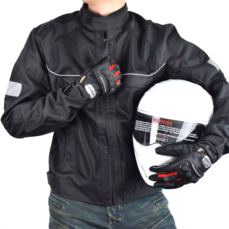 LYSCHY Summer Motorcycle Jacket Men Mesh Motocross Racing Reflective Safety Coat Motorbike Protective Gear Pads Riding