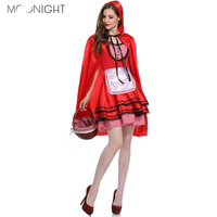 MOONIGHT Halloween Costumes For Women Sexy Cosplay Little Red Riding Hood Fantasy Game Uniforms Fancy Dress Outfit