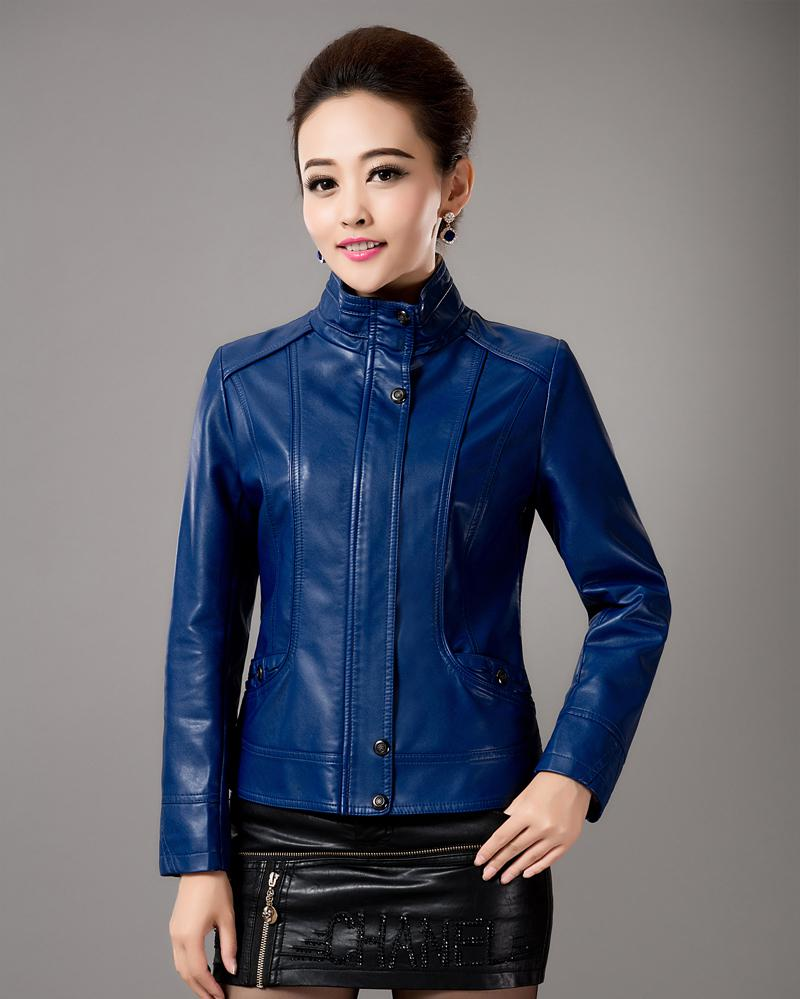 New Spring   Leather   Clothing Women's Stand Collar   Leather   Jacket Short Coat Slim Design Purple Women's Outerwear