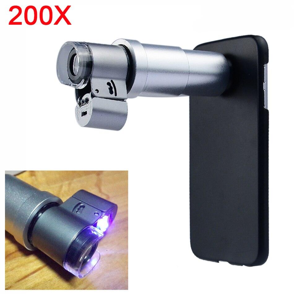 imágenes para 2017 Nueva Lente 200X Portable LED Microscopio Joyería lupa con Lentes de casos para el iphone 4 5c 4S 5 5S se 6 + 6 s 7 + 8 más