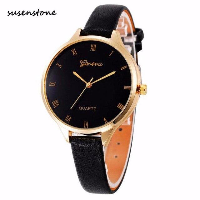 e47da6f6bb2 Susenstone Moda Mulheres Relógio de Prata Dial Genebra De Quartzo-Relógio  Feminino Casual Elegante Das