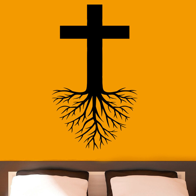 ZOOYOO Cross With Roots Wall Art Sticker Religion Jesus Christ Removable Wall Stickers Home Decor Vinyl  sc 1 st  AliExpress.com & ZOOYOO Cross With Roots Wall Art Sticker Religion Jesus Christ ...