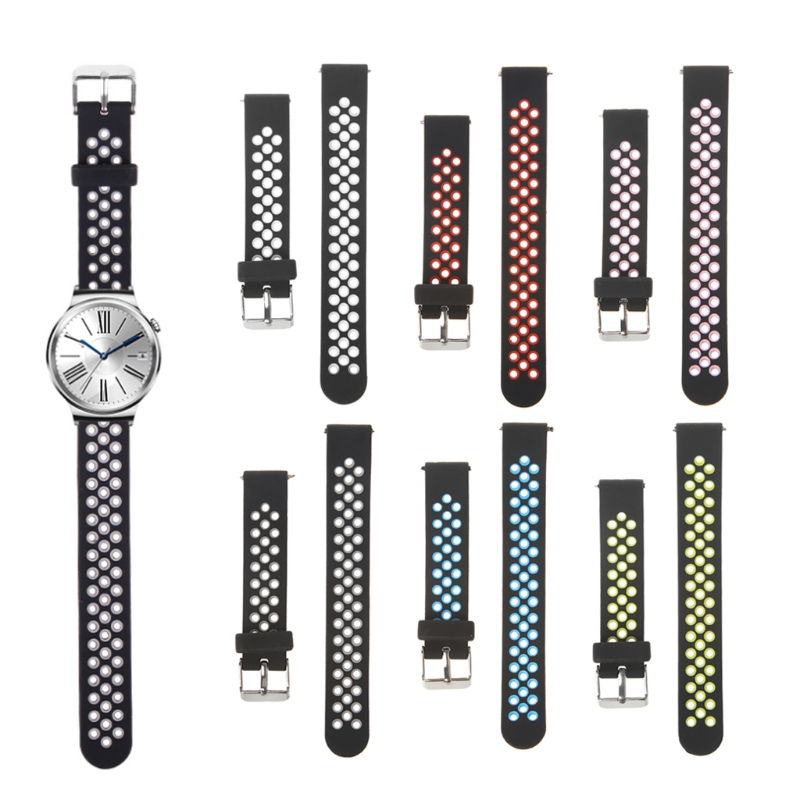 OOTDTY Universal Silicone Watch Wrist Band Clasp Strap Replacement For 16mm Width Smart Watch Bracelet Wearable Accessories