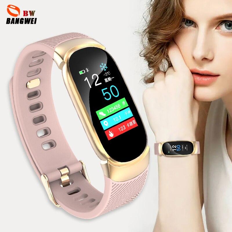 BANGWEI Relógio Inteligente Relógio pressão Arterial e freqüência cardíaca rastreador De Fitness Esporte Mulheres Relógio À Prova D' Água relogio feminino Presente para A Esposa