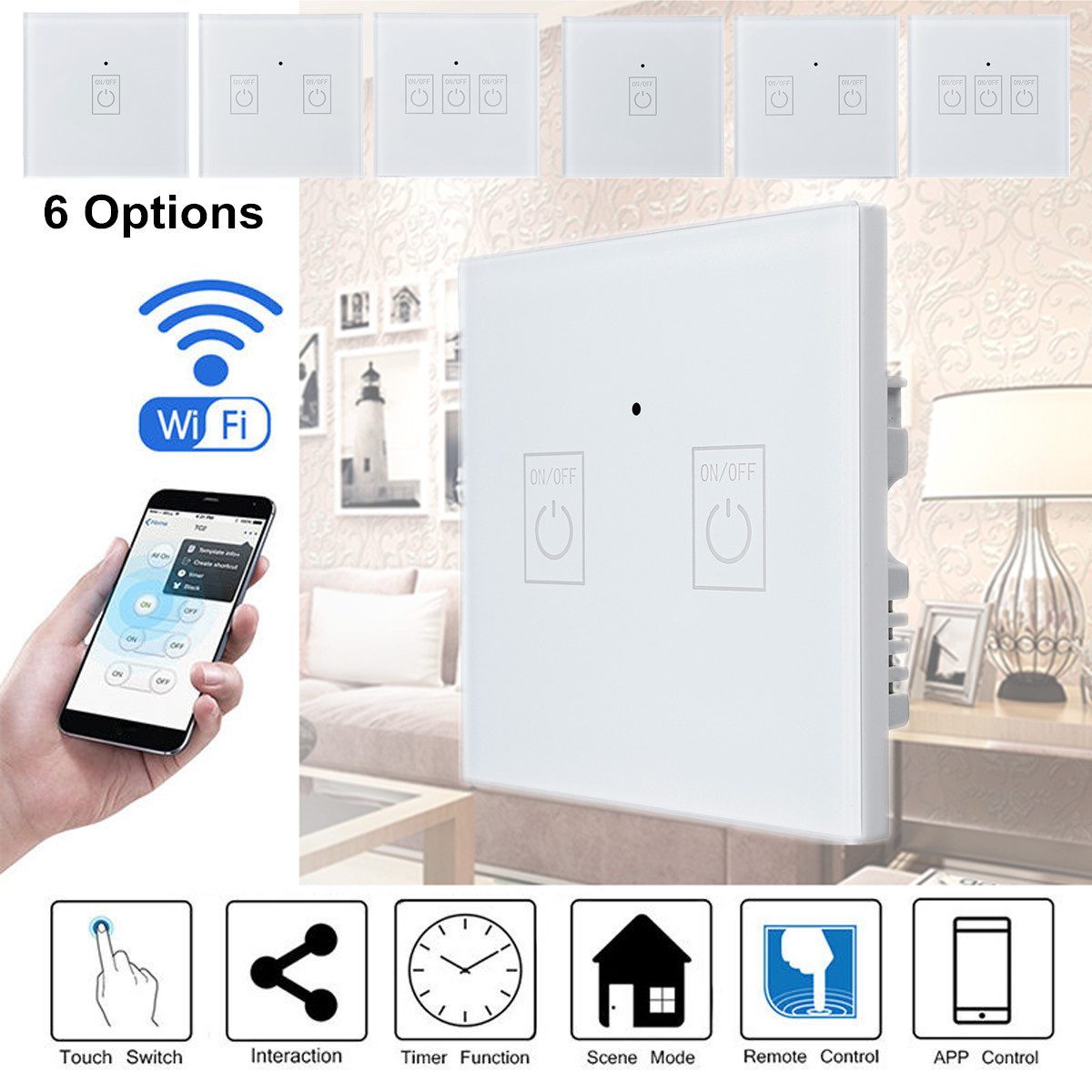 Smart Wall Light Switch 1/2/3 Gang UK/EU Type Panel WIFI APP 15m Control Work With Alexa Echo/Google Sensitive Safe White цена