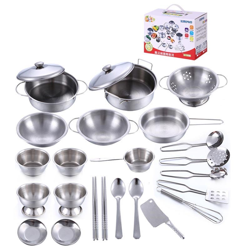25pcs/set Early Learning Educational toy model simulation kitchen utensils toys stainless steel quality material Free shipping