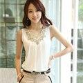 2016 Plus Size Women Chiffon Blouse White Blouses Clothing Cool Sexy O-Neck Sleeveless Ladies Tops Vetement Femme Shirts XXL 25