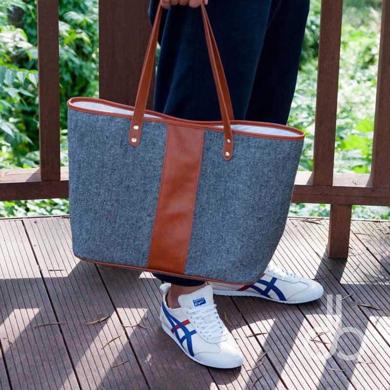 Wholesale Blanks Houndstooth Herringbone Tote Bag Women Handbag PU Faux Leather Ptachwork DOM103405 tote bags for work