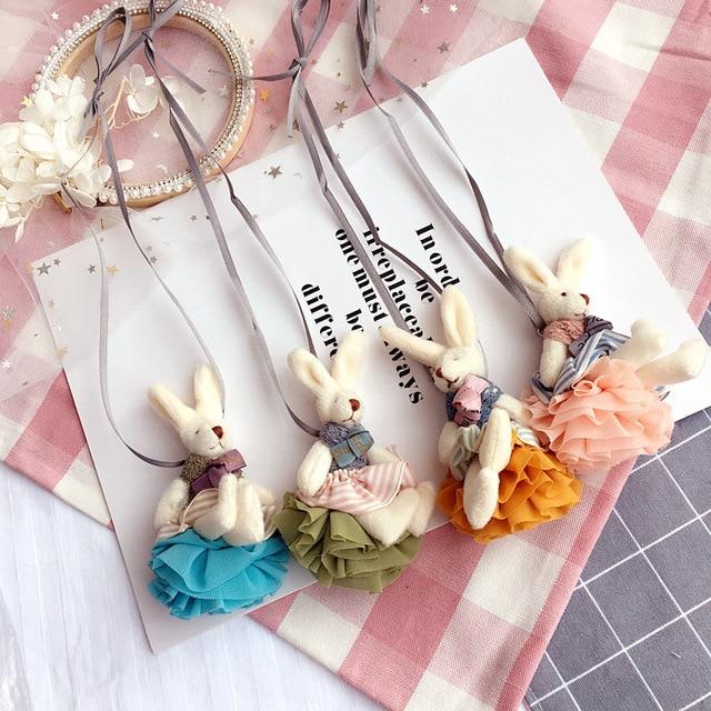 Korea Cute Handmade Fabric Rabbit Necklace   Pendant Baby Chain Collar Fashion  Jewelry Children Girl Accessories-SWCGNL044F fb47ebef75a7