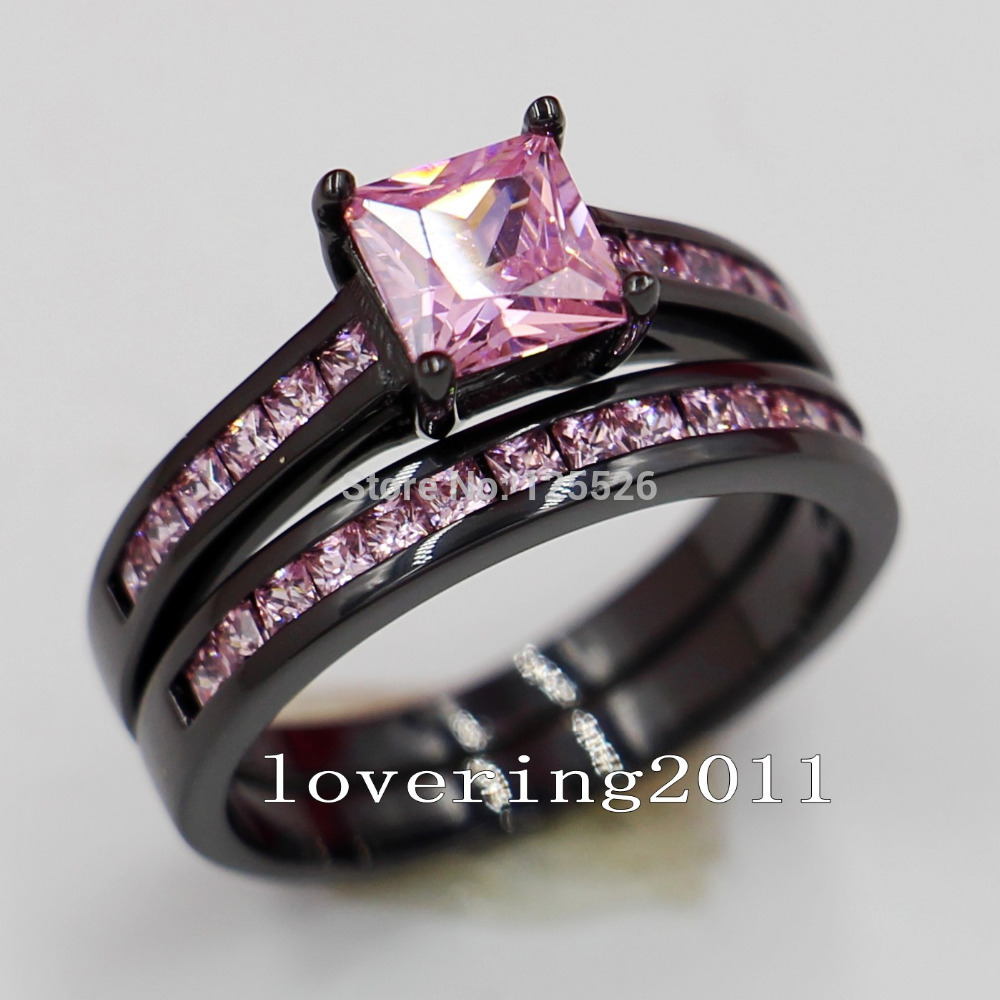 Choucong Lovers Engagement Pink Stone 5a Zircon Stone 10kt Black Gold  Filled 2 Wedding Band Ring