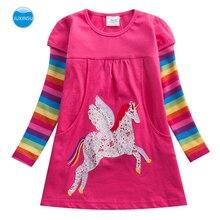 JUXINSU Girls Cotton Long Sleeve Dresses Unicorn Cartoon Embroidery Rainbow Stripes Casual Dress Clothing for Girl 1-6 Years