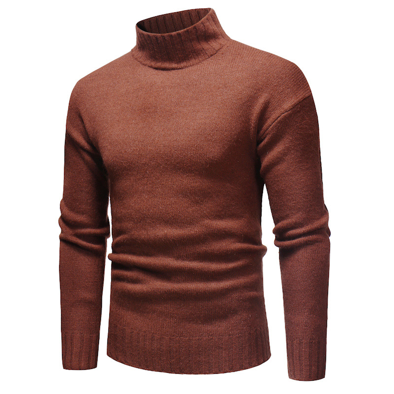 New Fashion Sweaters Men Casual High-Neck Slim Cotton Knit Mens Sweaters and Pullovers Men Brand Clothing Size M-3XL