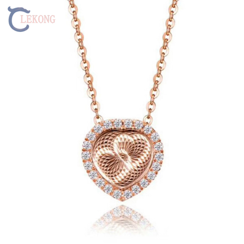 Gold Mental LEKONG heart breaker flashing necklace, creat dance necklace, diamond cross necklace 925 silver