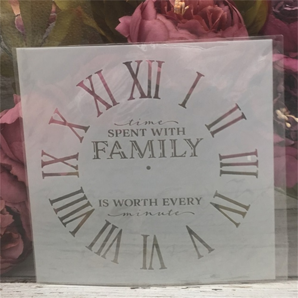 1Pcs 15*15cm Clock Family Dial DIY Layering Stencils Painting Scrapbook Coloring Embossing Album Decorative Card Template