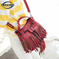 Crossbody Bags For Women Vintage Retro Bucket Bag Female Solid Messenger Shoulder String Fringe Tassel Bag Leather Handbag B103