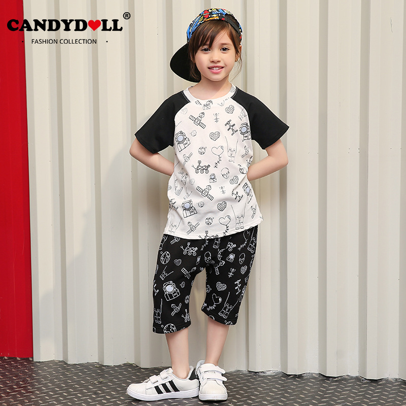 Candidoll 2017 children's clothing new T-shirt suit casual short-sleeved cotton cartoon children's suit