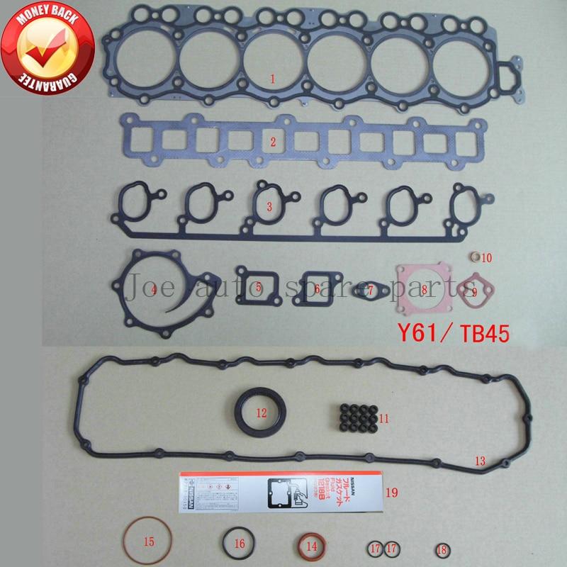 Здесь можно купить  TB45  Engine Full gasket set kit for Nissan Patrol GR/Forklift/Safari/Y61 4478cc 4.5L OHV 12v 10101-VB085  Автомобили и Мотоциклы