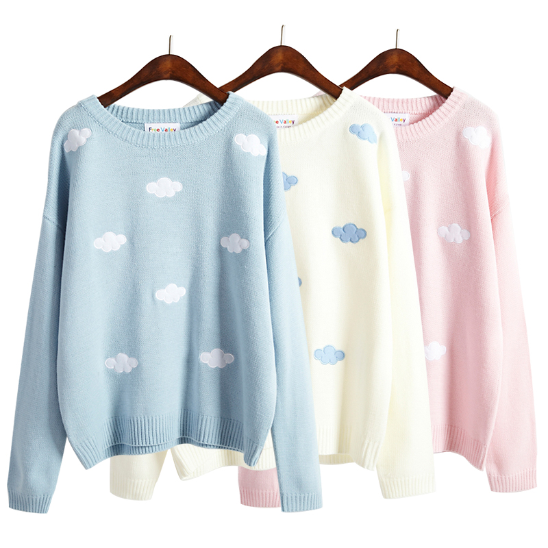 Korean Women Kawaii Stereo Blue Sky Cloudy Sweater For Women's Harajuku Thick Knitted O-neck Female Pullover Knitted Ulzzang