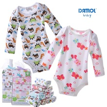 DANROL Baby Bodysuits Newborn Cotton Body Baby Long Sleeve Underwear Infant Boys Girls Pajamas Clothes 5pcs