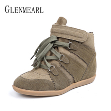 цены на Genuine Leather Women Casual Shoes Flat Platform Suede Leather Woman Sneakers High Top Ankle Boots Lace Up Plus Size Female Flat  в интернет-магазинах