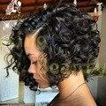 Короткие Человеческих Волос Парики Бразильский Человеческих Волос Короткие Вьющиеся Парики Для черный Женщин Человека Коротких Вьющихся Волос Парик Фронта шнурка С Ребенком волос