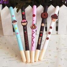 20 개/몫 초콜릿 젤 펜 장식 과일 케이크 도넛 블랙 컬러 펜 선물 문구 사무 용품 Canetas escolar A6710