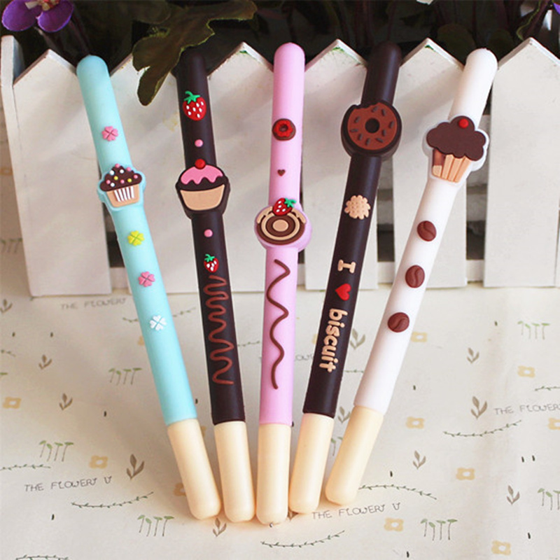 20 Pcs/Lot Chocolate Gel Pens Decoration Fruit Cake Donut Black Color Pen Gift Stationery Office Supplies Canetas Escolar A6710