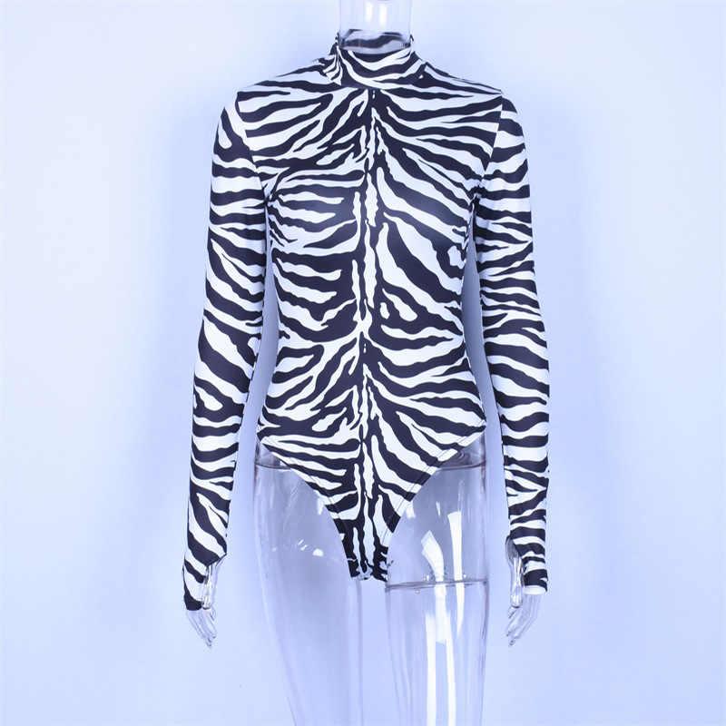 Криптографический Водолазка с длинным рукавом с принтом зебры сексуальный боди 2018 комбинезон женский осень зима модные облегающие костюмы Новинка