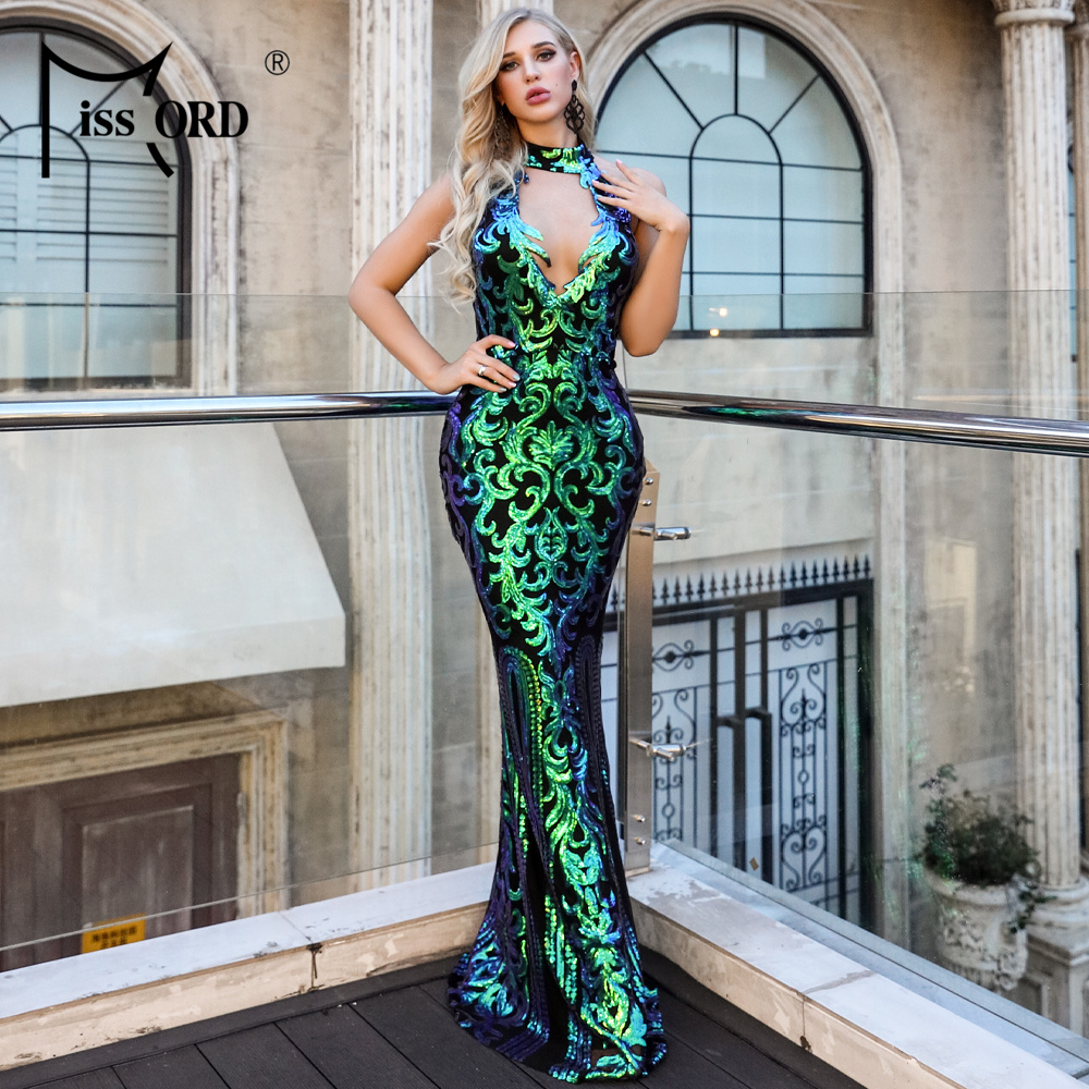 Missord 2020 Women Sexy High Neck Off Shoulder Sequin CLUB Resses  Elegant Maxi Party Dress Vestdios  FT18727-3