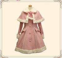 Лолита Принцесса платье осень зима женский однобортный плащ с меховым воротником шерстяное пальто модное милое пальто бесплатная доставка
