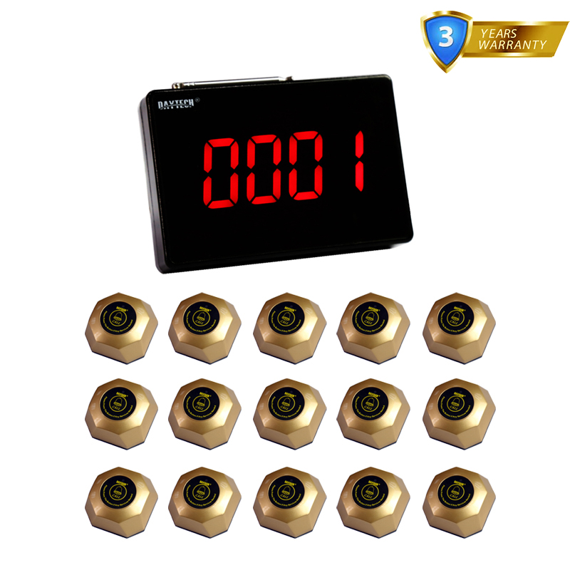 DAYTECH Wireless Calling system Restaurant Pager Waiter Button Call Buzzer Guest Pagering 1 Display 15 PCS Call Button restaurant call bell pager system 4pcs k 300plus wrist watch receiver and 20pcs table buzzer button with single key
