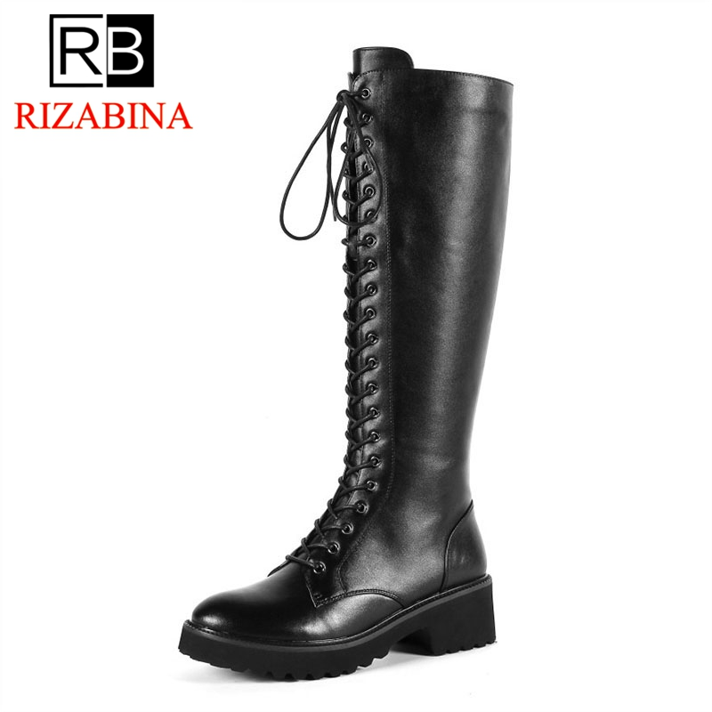 RizaBina Women Real Leather High Heel Boots Winter Gladiator Warm Fur Platform Shoes Woman Lace Up Knee High Boots Size 34-43 luxury handbags women bags designer handbags high quality pu leather bag famous brand retro shoulder bag rivet sac a main