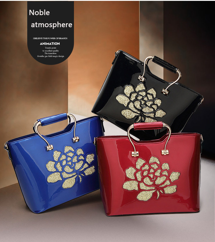 Casual Black Patent Leather Tote Bag Women Flower Print Handbag
