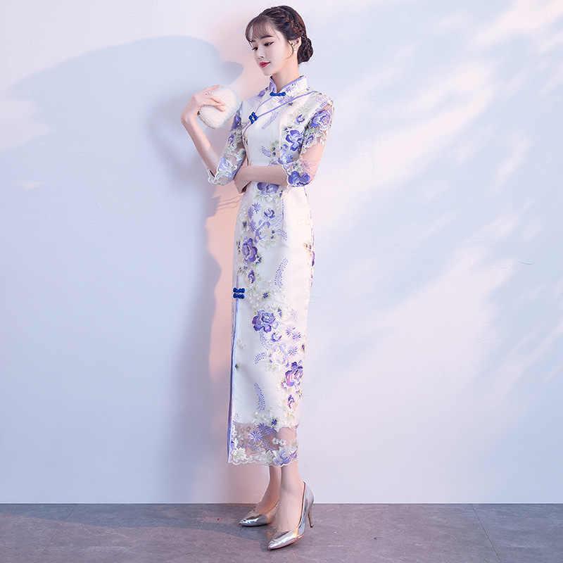 クラシック女性ドレス伝統的な中国現代袍ロングウェディングチャイナローブマリアージュファムオリエンタルスタイルドレス