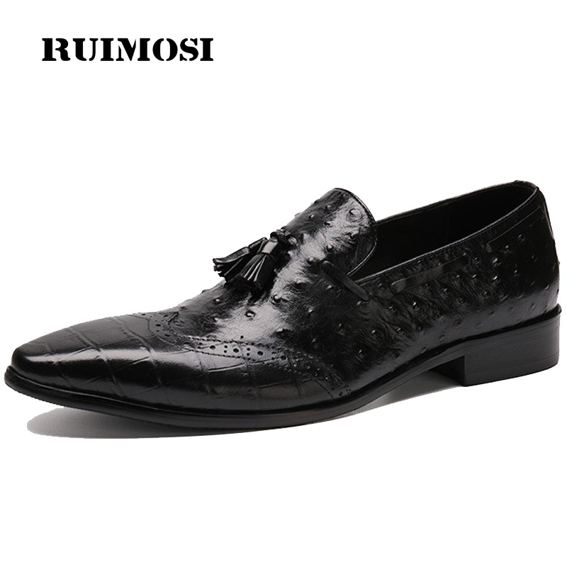 RUIMOSI Ostrich Grain Wing Tip Brogue Man Formal Dress Shoes Genuine Leather Loafers Pointed Men's Wedding Bridal Flats ZH21